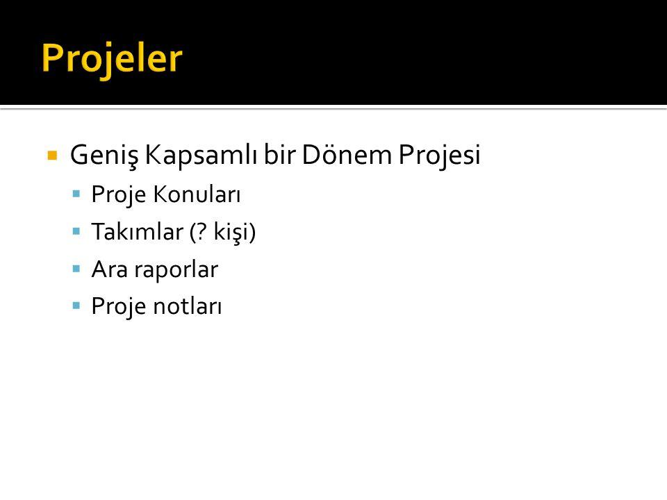  Geniş Kapsamlı bir Dönem Projesi  Proje Konuları  Takımlar (.