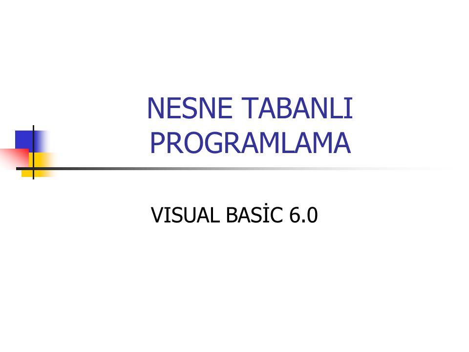 NESNE TABANLI PROGRAMLAMA VISUAL BASİC 6.0