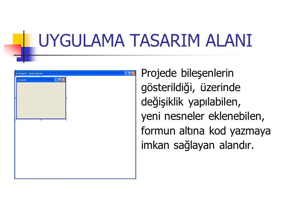 UYGULAMA TASARIM ALANI Projede bileşenlerin gösterildiği, üzerinde değişiklik yapılabilen, yeni nesneler eklenebilen, formun altına kod yazmaya imkan sağlayan alandır.