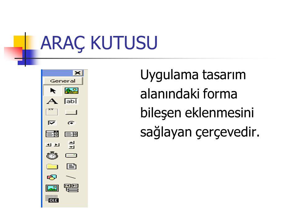 ARAÇ KUTUSU Uygulama tasarım alanındaki forma bileşen eklenmesini sağlayan çerçevedir.