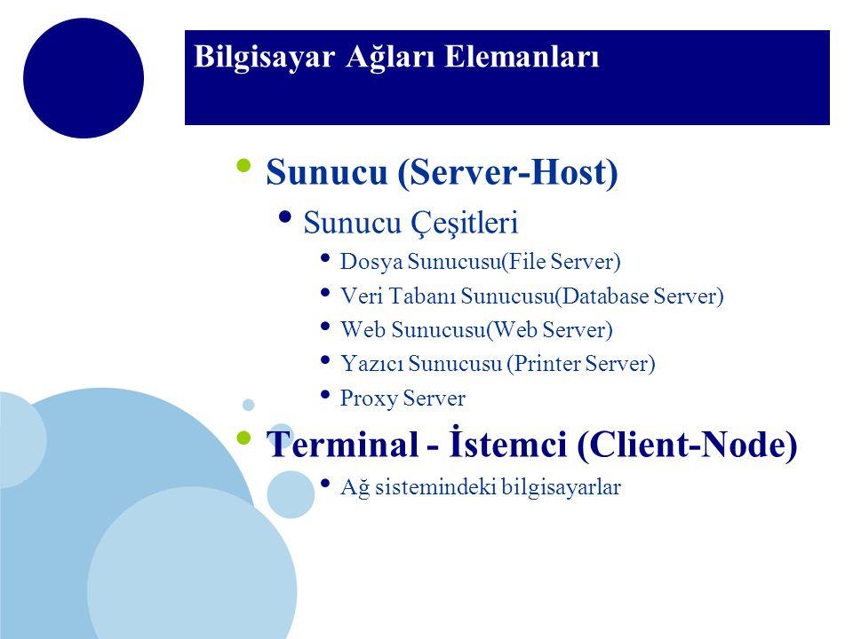 Bilgisayar Ağları Elemanları Sunucu (Server-Host) Sunucu Çeşitleri Dosya Sunucusu(File Server) Veri Tabanı Sunucusu(Database Server) Web Sunucusu(Web Server) Yazıcı Sunucusu (Printer Server) Proxy Server Terminal - İstemci (Client-Node) Ağ sistemindeki bilgisayarlar