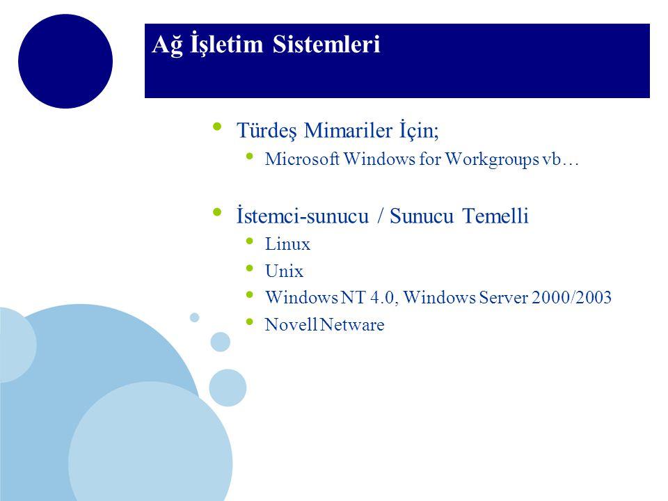 Ağ İşletim Sistemleri Türdeş Mimariler İçin; Microsoft Windows for Workgroups vb… İstemci-sunucu / Sunucu Temelli Linux Unix Windows NT 4.0, Windows Server 2000/2003 Novell Netware