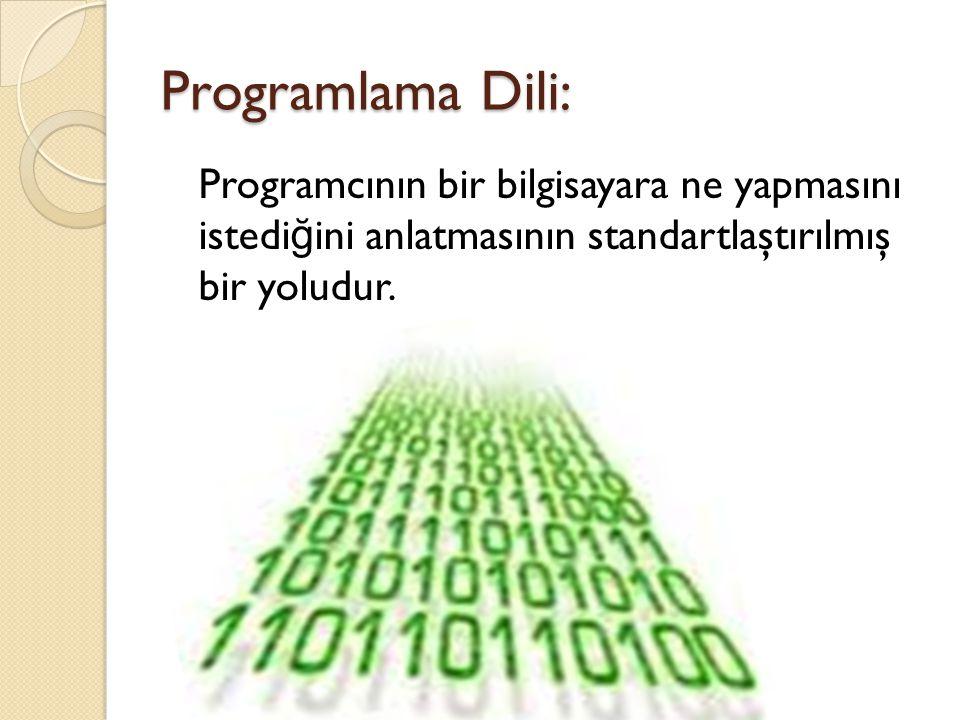 Programlama Dili: Programcının bir bilgisayara ne yapmasını istedi ğ ini anlatmasının standartlaştırılmış bir yoludur.