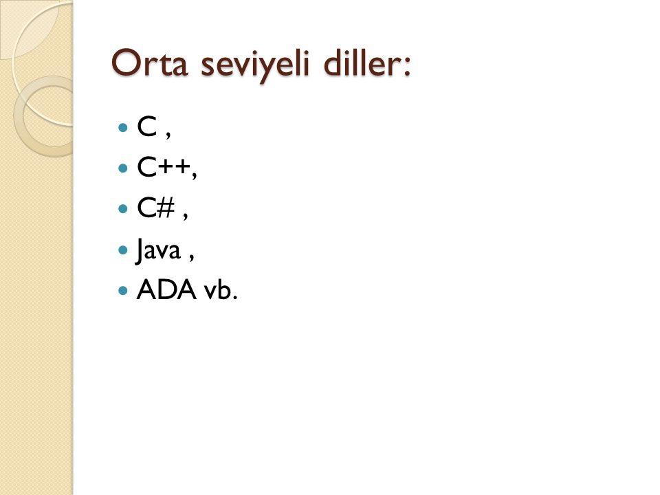 Orta seviyeli diller: C, C++, C#, Java, ADA vb.