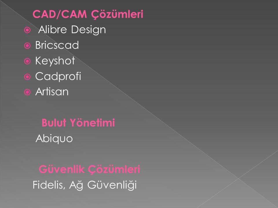 CAD/CAM Çözümleri  Alibre Design  Bricscad  Keyshot  Cadprofi  Artisan Bulut Yönetimi Abiquo Güvenlik Çözümleri Fidelis, Ağ Güvenliği