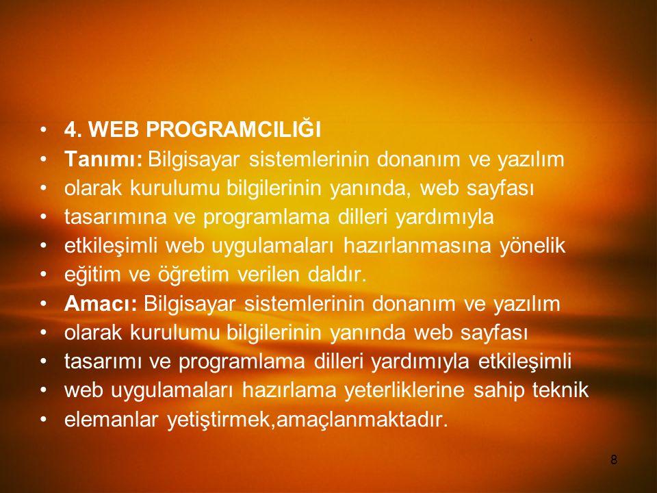 8 4. WEB PROGRAMCILIĞI Tanımı: Bilgisayar sistemlerinin donanım ve yazılım olarak kurulumu bilgilerinin yanında, web sayfası tasarımına ve programlama