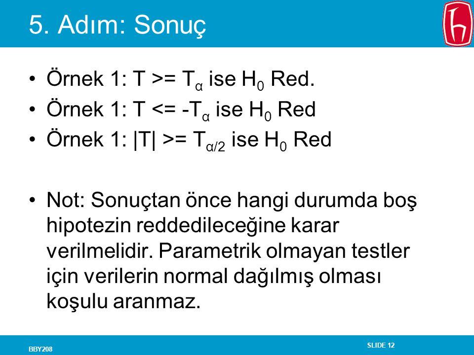 SLIDE 12 BBY208 5. Adım: Sonuç Örnek 1: T >= T α ise H 0 Red. Örnek 1: T <= -T α ise H 0 Red Örnek 1: |T| >= T α/2 ise H 0 Red Not: Sonuçtan önce hang