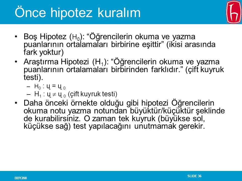 """SLIDE 36 BBY208 Önce hipotez kuralım Boş Hipotez ( H 0 ): """"Öğrencilerin okuma ve yazma puanlarının ortalamaları birbirine eşittir"""" (ikisi arasında far"""