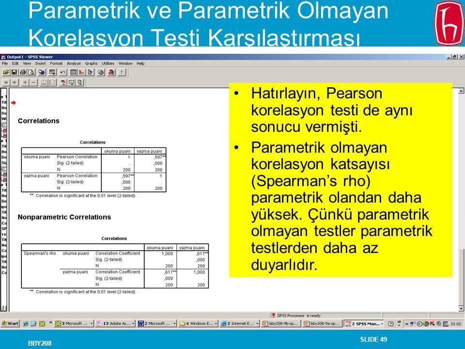 SLIDE 49 BBY208 Parametrik ve Parametrik Olmayan Korelasyon Testi Karşılaştırması Hatırlayın, Pearson korelasyon testi de aynı sonucu vermişti. Parame