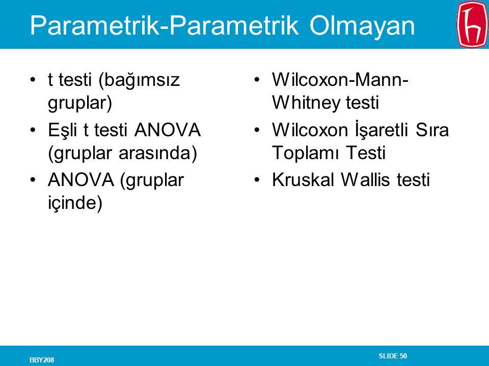 SLIDE 50 BBY208 Parametrik-Parametrik Olmayan t testi (bağımsız gruplar) Eşli t testi ANOVA (gruplar arasında) ANOVA (gruplar içinde) Wilcoxon-Mann- W