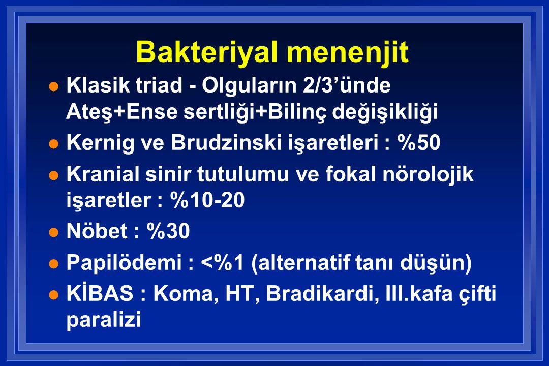 Bakteriyal menenjit l Klasik triad - Olguların 2/3'ünde Ateş+Ense sertliği+Bilinç değişikliği l Kernig ve Brudzinski işaretleri : %50 l Kranial sinir tutulumu ve fokal nörolojik işaretler : %10-20 l Nöbet : %30 l Papilödemi : <%1 (alternatif tanı düşün) l KİBAS : Koma, HT, Bradikardi, III.kafa çifti paralizi