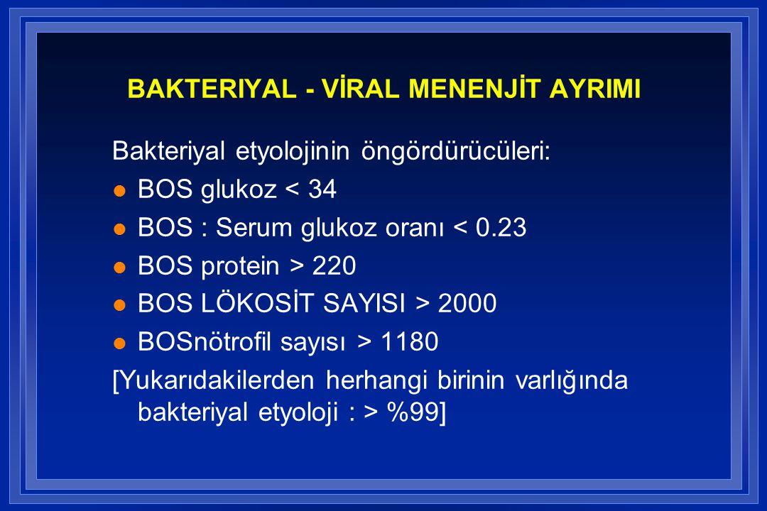 BAKTERIYAL - VİRAL MENENJİT AYRIMI Bakteriyal etyolojinin öngördürücüleri: l BOS glukoz < 34 l BOS : Serum glukoz oranı < 0.23 l BOS protein > 220 l BOS LÖKOSİT SAYISI > 2000 l BOSnötrofil sayısı > 1180 [Yukarıdakilerden herhangi birinin varlığında bakteriyal etyoloji : > %99]