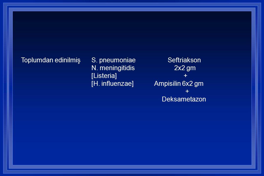 Toplumdan edinilmişS.pneumoniae Seftriakson N. meningitidis 2x2 gm [Listeria] + [H.