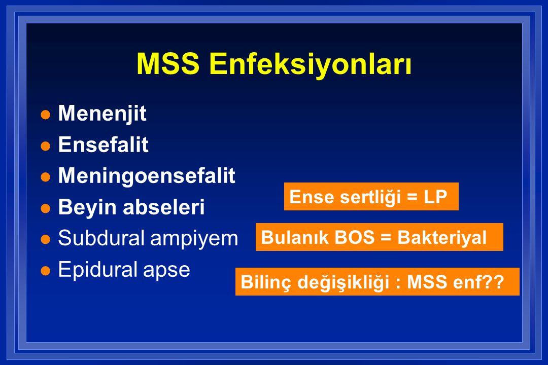 Etkenler Predispozan faktör Yaş 0-4 hafta 4-12 hafta 3 ay- 18 yaş 18-50 yaş >50 yaş Sık etkenler Streptococcus agalactiae, Escherichia coli, Listeria monocytogenes, Klebsiella pneumoniae, Enterococcus spp., Salmonella spp.