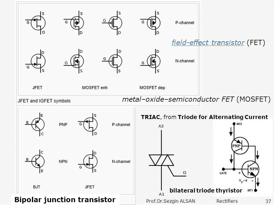 Prof.Dr.Sezgin ALSAN Rectifiers 37 Bipolar junction transistor field-effect transistor (FET)field-effect transistor metal–oxide–semiconductor FET (MOS