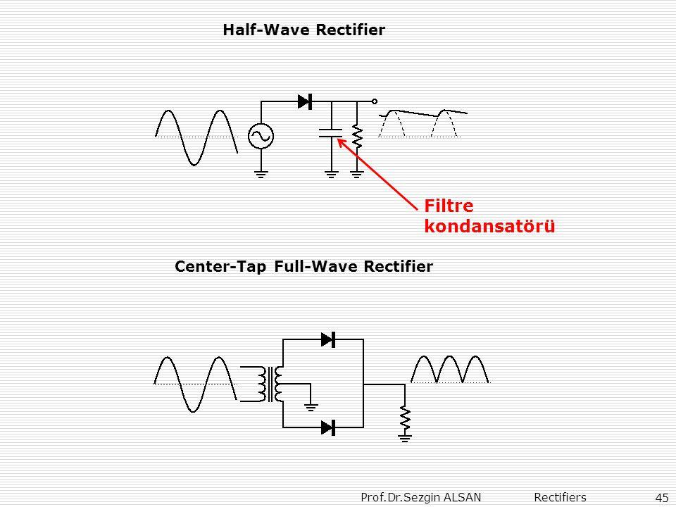 Prof.Dr.Sezgin ALSAN Rectifiers 45 Half-Wave Rectifier Center-Tap Full-Wave Rectifier Filtre kondansatörü