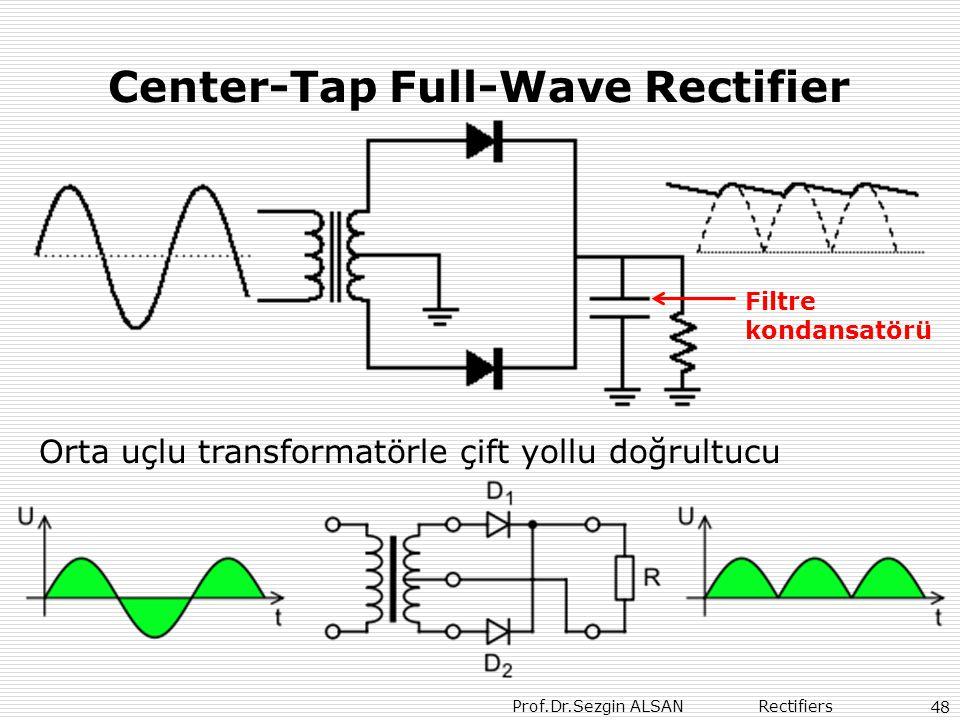 Prof.Dr.Sezgin ALSAN Rectifiers 48 Center-Tap Full-Wave Rectifier Orta uçlu transformatörle çift yollu doğrultucu Filtre kondansatörü