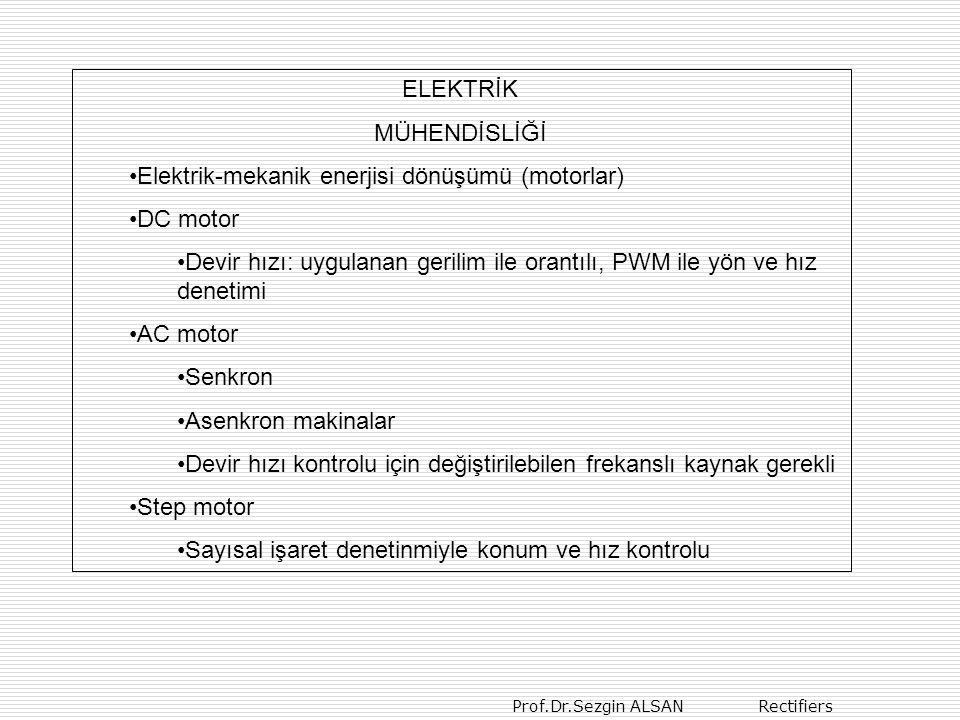 Prof.Dr.Sezgin ALSAN Rectifiers ELEKTRİK MÜHENDİSLİĞİ Elektrik-mekanik enerjisi dönüşümü (motorlar) DC motor Devir hızı: uygulanan gerilim ile orantıl