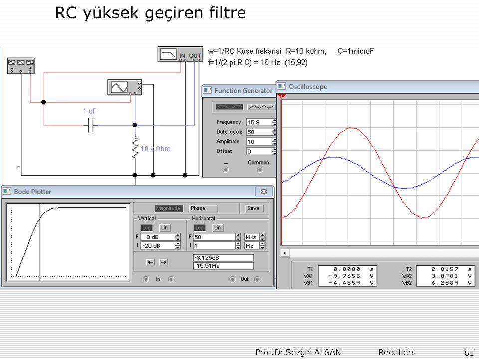 Prof.Dr.Sezgin ALSAN Rectifiers 61 RC yüksek geçiren filtre