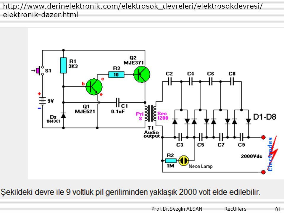 Prof.Dr.Sezgin ALSAN Rectifiers 81 http://www.derinelektronik.com/elektrosok_devreleri/elektrosokdevresi/ elektronik-dazer.html
