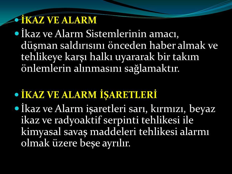 İKAZ VE ALARM İkaz ve Alarm Sistemlerinin amacı, düşman saldırısını önceden haber almak ve tehlikeye karşı halkı uyararak bir takım önlemlerin alınmas