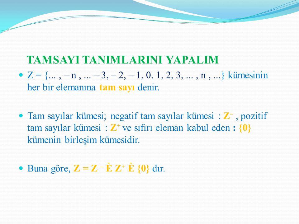 TAMSAYI TANIMLARINI YAPALIM Z = {..., – n,...