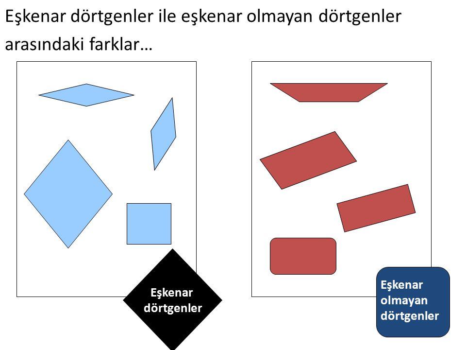 Eşkenar dörtgenler Eşkenar olmayan dörtgenler Eşkenar dörtgenler ile eşkenar olmayan dörtgenler arasındaki farklar…