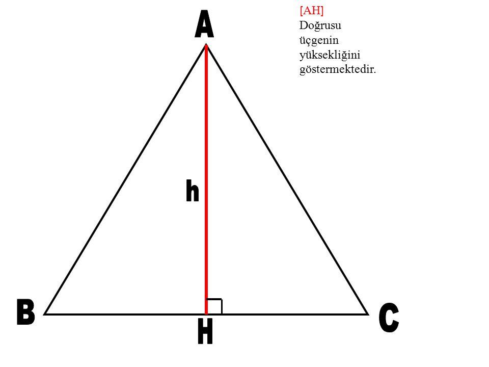 [ AH ] Doğrusu üçgenin yüksekliğini göstermektedir.