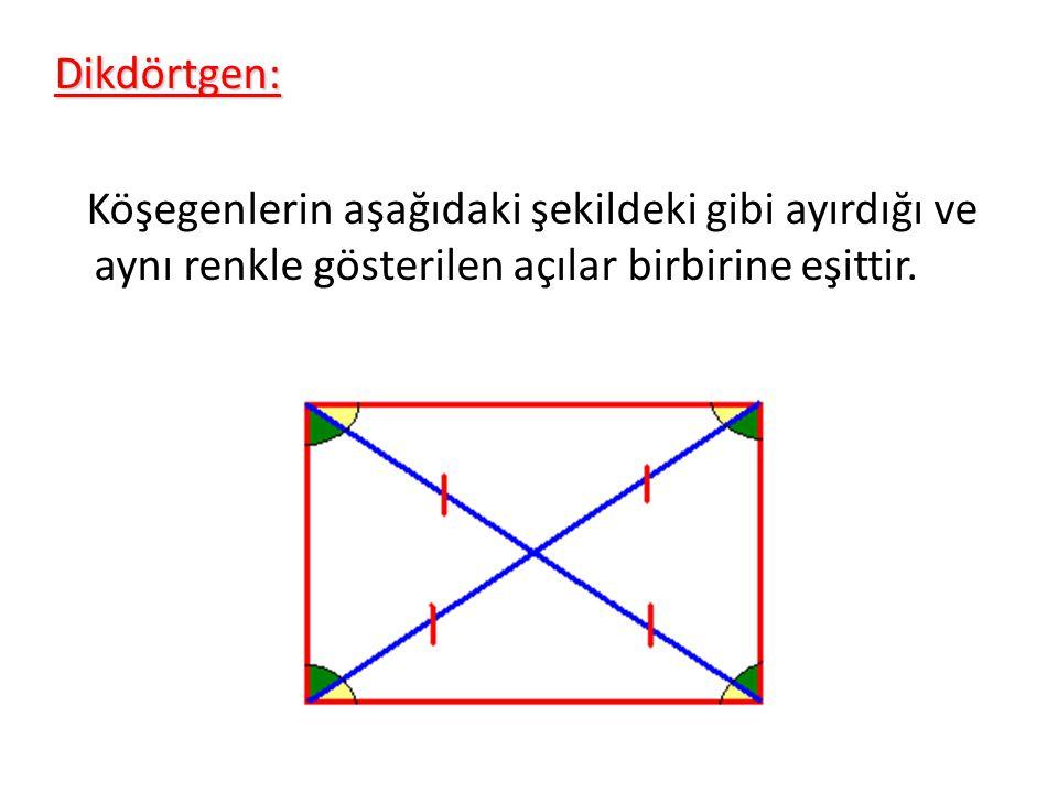 Dikdörtgen: Köşegenlerin aşağıdaki şekildeki gibi ayırdığı ve aynı renkle gösterilen açılar birbirine eşittir.