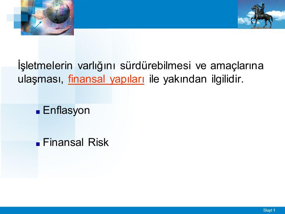 Slayt 1 İşletmelerin varlığını sürdürebilmesi ve amaçlarına ulaşması, finansal yapıları ile yakından ilgilidir. ■ Enflasyon ■ Finansal Risk