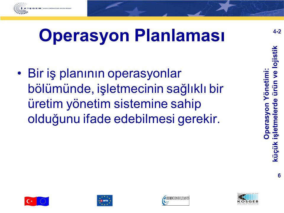 Operasyon Yönetimi: küçük işletmelerde ürün ve lojistik 6 4-2 Operasyon Planlaması Bir iş planının operasyonlar bölümünde, işletmecinin sağlıklı bir üretim yönetim sistemine sahip olduğunu ifade edebilmesi gerekir.
