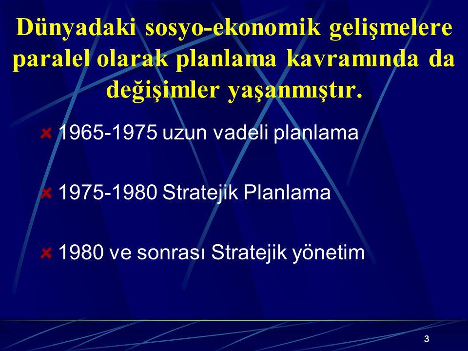 3 Dünyadaki sosyo-ekonomik gelişmelere paralel olarak planlama kavramında da değişimler yaşanmıştır.