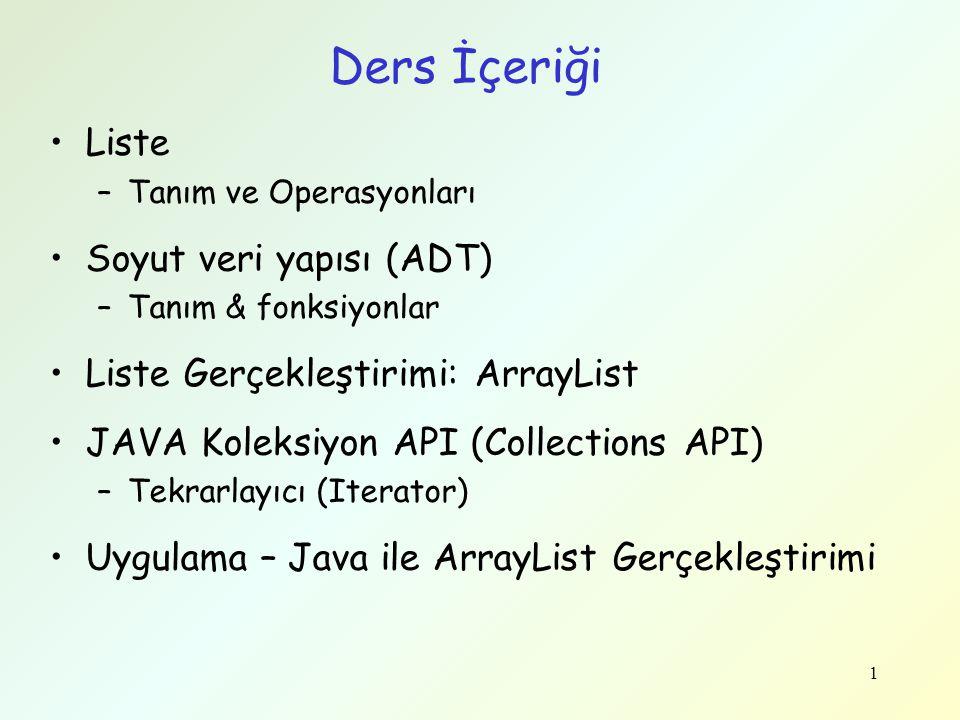 1 Ders İçeriği Liste –Tanım ve Operasyonları Soyut veri yapısı (ADT) –Tanım & fonksiyonlar Liste Gerçekleştirimi: ArrayList JAVA Koleksiyon API (Colle