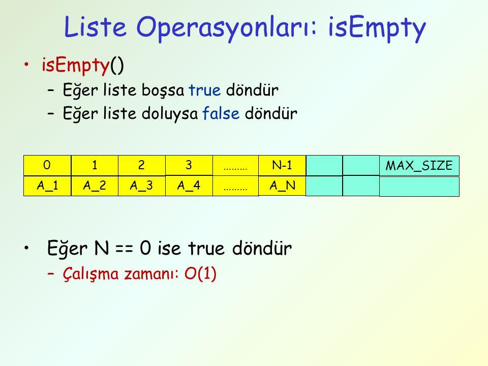 Liste Operasyonları: isEmpty isEmpty() –Eğer liste boşsa true döndür –Eğer liste doluysa false döndür Eğer N == 0 ise true döndür –Çalışma zamanı: O(1