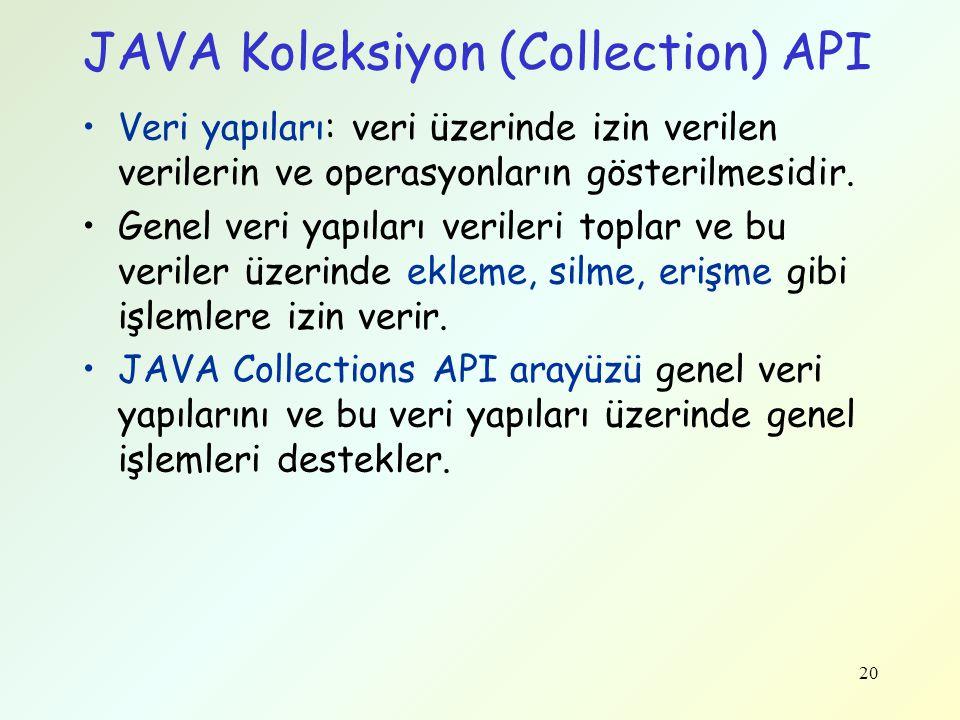 JAVA Koleksiyon (Collection) API Veri yapıları: veri üzerinde izin verilen verilerin ve operasyonların gösterilmesidir. Genel veri yapıları verileri t