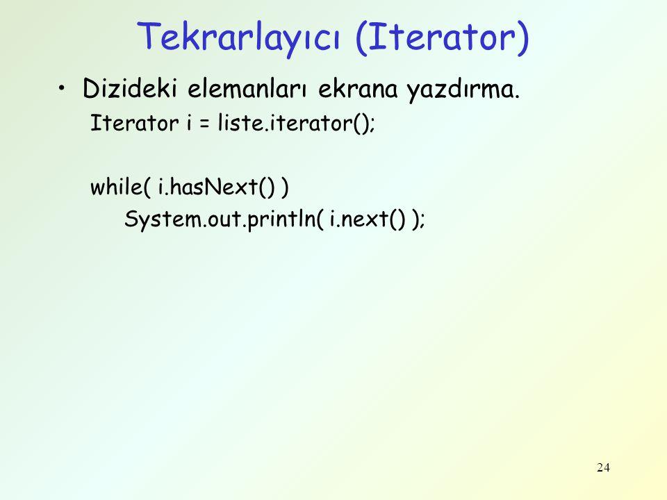 Tekrarlayıcı (Iterator) Dizideki elemanları ekrana yazdırma. Iterator i = liste.iterator(); while( i.hasNext() ) System.out.println( i.next() ); 24