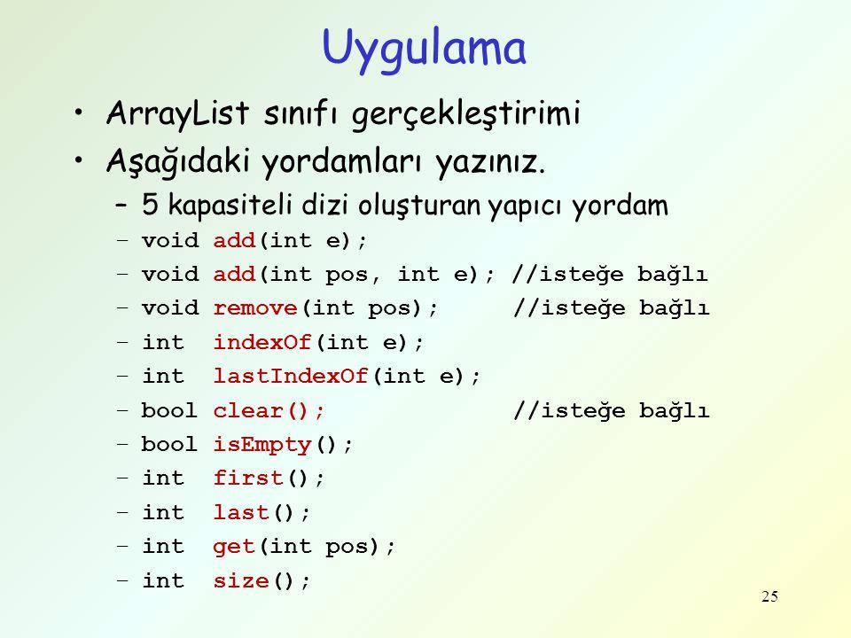 Uygulama ArrayList sınıfı gerçekleştirimi Aşağıdaki yordamları yazınız. –5 kapasiteli dizi oluşturan yapıcı yordam –void add(int e); –void add(int pos