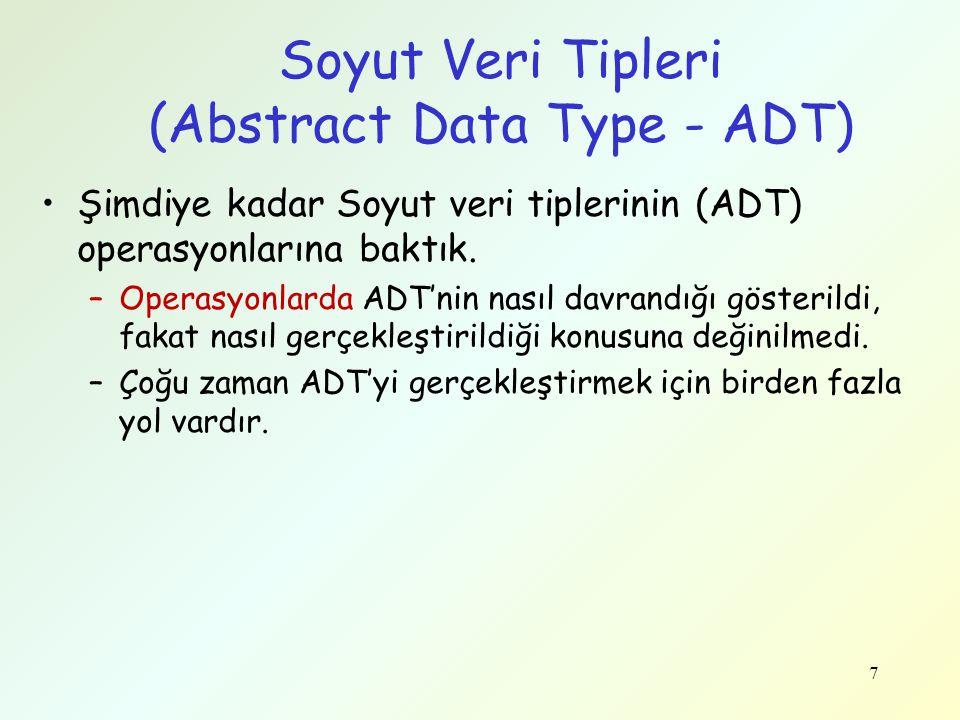 7 Soyut Veri Tipleri (Abstract Data Type - ADT) Şimdiye kadar Soyut veri tiplerinin (ADT) operasyonlarına baktık. –Operasyonlarda ADT'nin nasıl davran