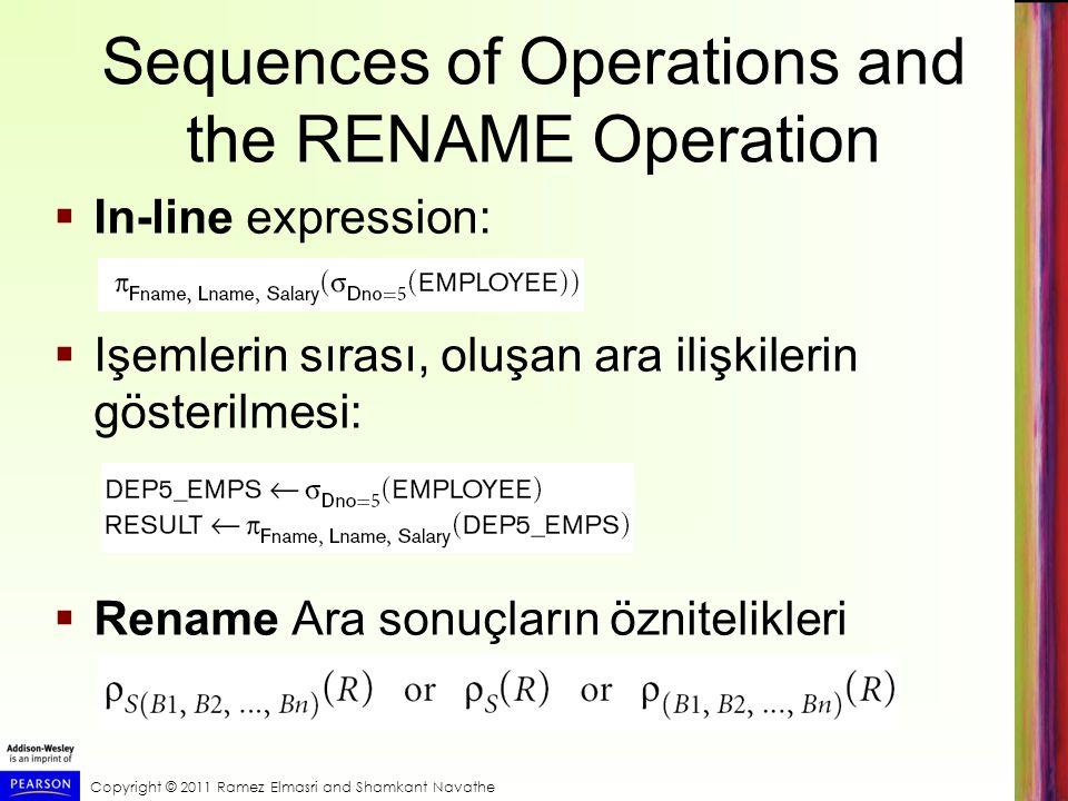 Copyright © 2011 Ramez Elmasri and Shamkant Navathe Sequences of Operations and the RENAME Operation  In-line expression:  Işemlerin sırası, oluşan