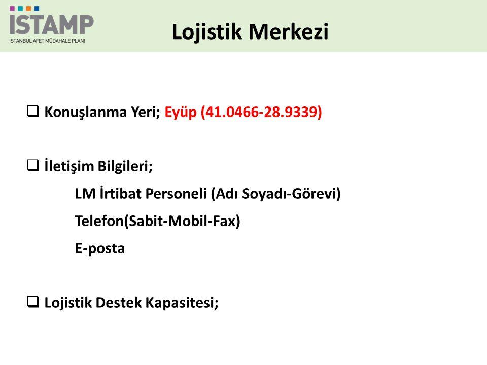 Lojistik Merkezi  Konuşlanma Yeri; Eyüp (41.0466-28.9339)  İletişim Bilgileri; LM İrtibat Personeli (Adı Soyadı-Görevi) Telefon(Sabit-Mobil-Fax) E-p
