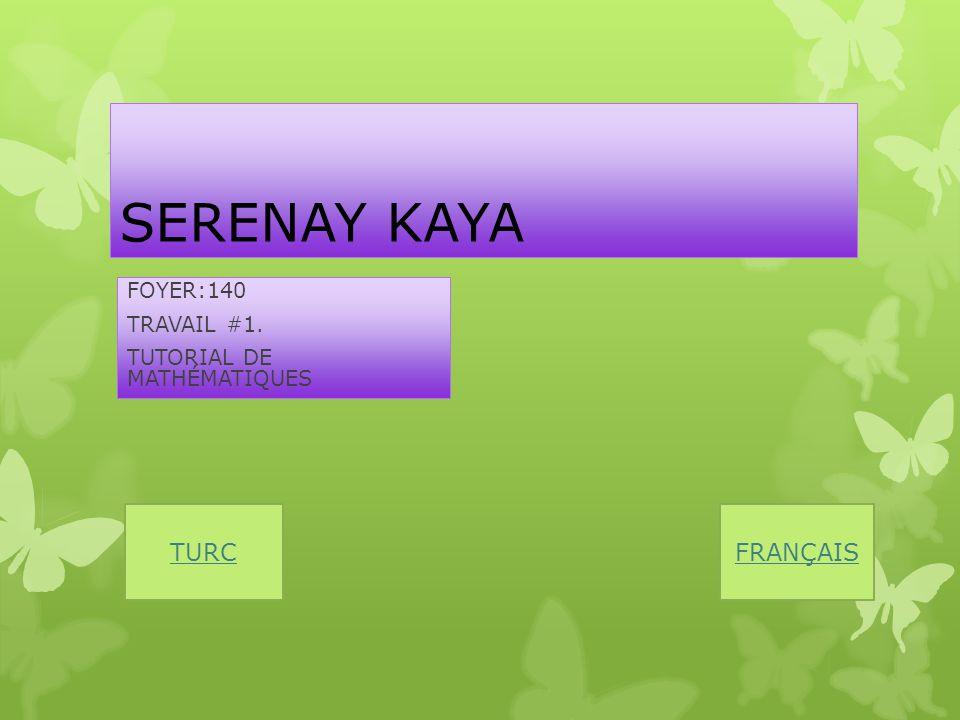 SERENAY KAYA FOYER:140 TRAVAIL #1. TUTORIAL DE MATHÉMATIQUES FRANÇAISTURC
