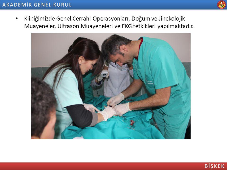 Kliniğimizde Genel Cerrahi Operasyonları, Doğum ve Jinekolojik Muayeneler, Ultrason Muayeneleri ve EKG tetkikleri yapılmaktadır.