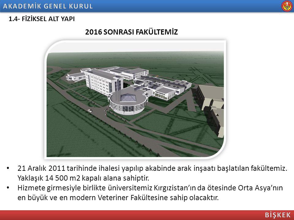 1.4- FİZİKSEL ALT YAPI 21 Aralık 2011 tarihinde ihalesi yapılıp akabinde arak inşaatı başlatılan fakültemiz. Yaklaşık 14 500 m2 kapalı alana sahiptir.