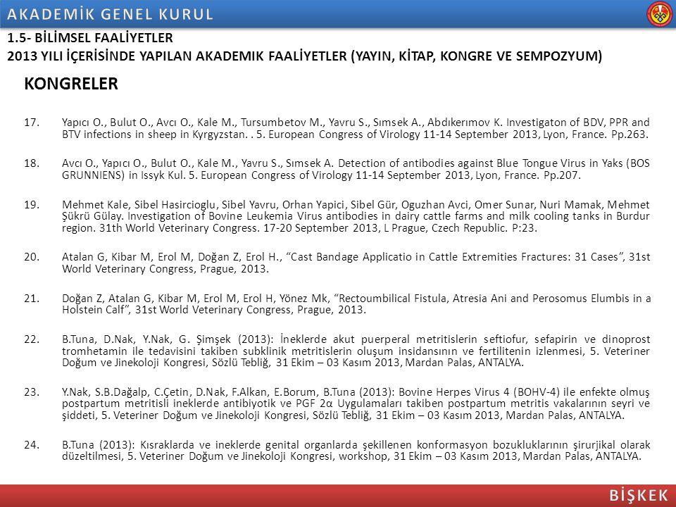 KONGRELER 17.Yapıcı O., Bulut O., Avcı O., Kale M., Tursumbetov M., Yavru S., Sımsek A., Abdıkerımov K. Investigaton of BDV, PPR and BTV infections in