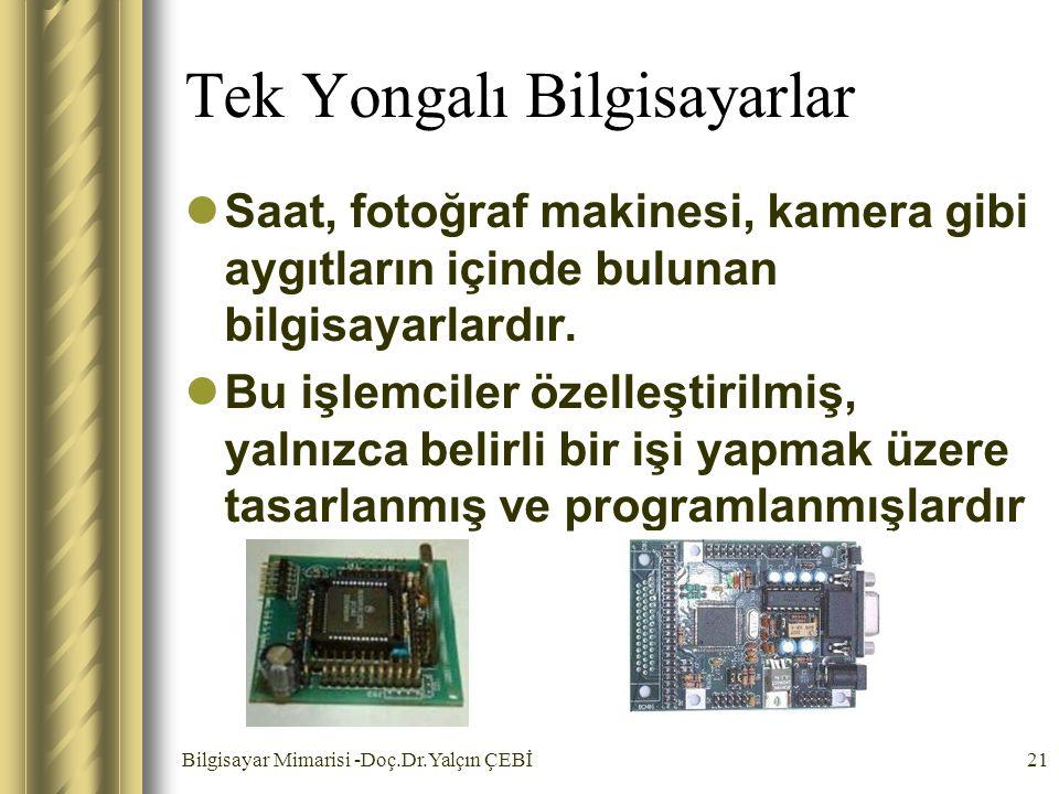 Bilgisayar Mimarisi -Doç.Dr.Yalçın ÇEBİ21 Tek Yongalı Bilgisayarlar Saat, fotoğraf makinesi, kamera gibi aygıtların içinde bulunan bilgisayarlardır. B