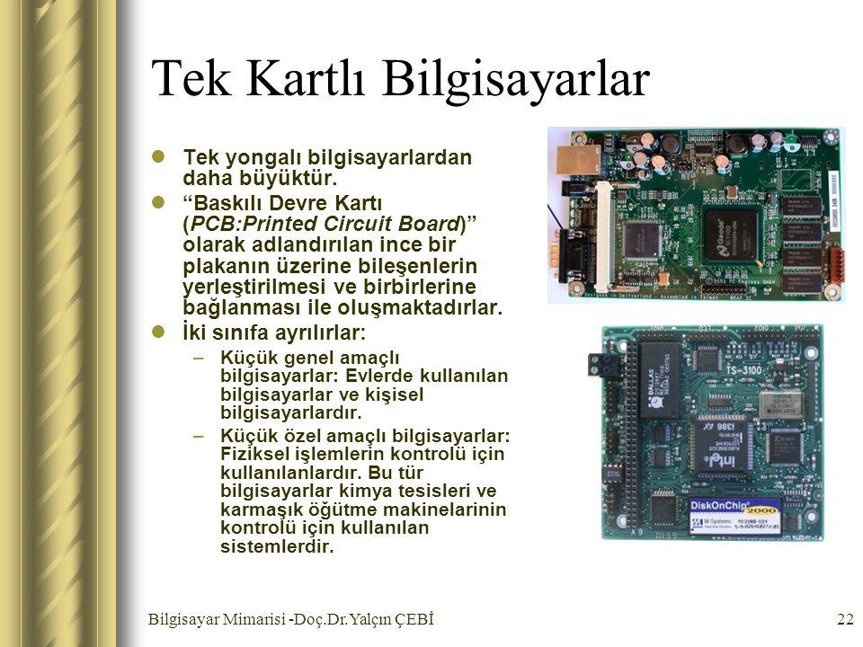 """Bilgisayar Mimarisi -Doç.Dr.Yalçın ÇEBİ22 Tek Kartlı Bilgisayarlar Tek yongalı bilgisayarlardan daha büyüktür. """"Baskılı Devre Kartı (PCB:Printed Circu"""
