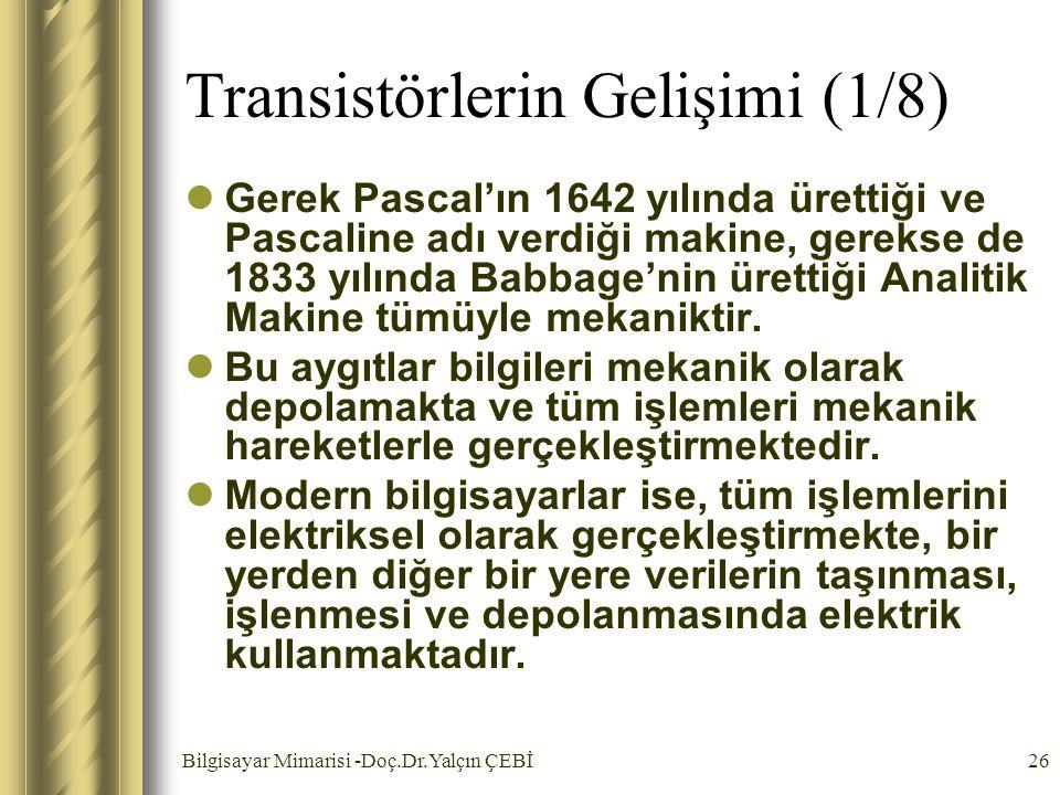 Bilgisayar Mimarisi -Doç.Dr.Yalçın ÇEBİ26 Transistörlerin Gelişimi (1/8) Gerek Pascal'ın 1642 yılında ürettiği ve Pascaline adı verdiği makine, gereks