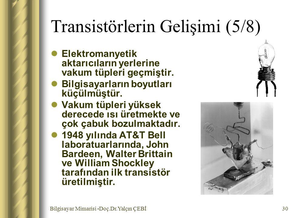 Bilgisayar Mimarisi -Doç.Dr.Yalçın ÇEBİ30 Transistörlerin Gelişimi (5/8) Elektromanyetik aktarıcıların yerlerine vakum tüpleri geçmiştir. Bilgisayarla