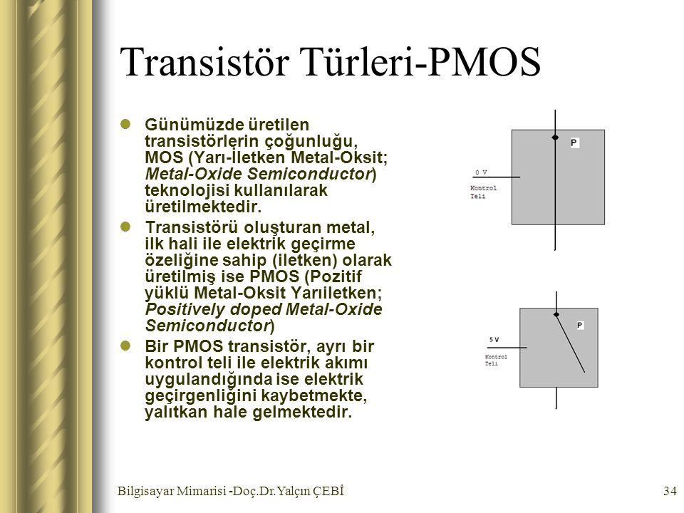 Bilgisayar Mimarisi -Doç.Dr.Yalçın ÇEBİ34 Transistör Türleri-PMOS Günümüzde üretilen transistörlerin çoğunluğu, MOS (Yarı-İletken Metal-Oksit; Metal-O