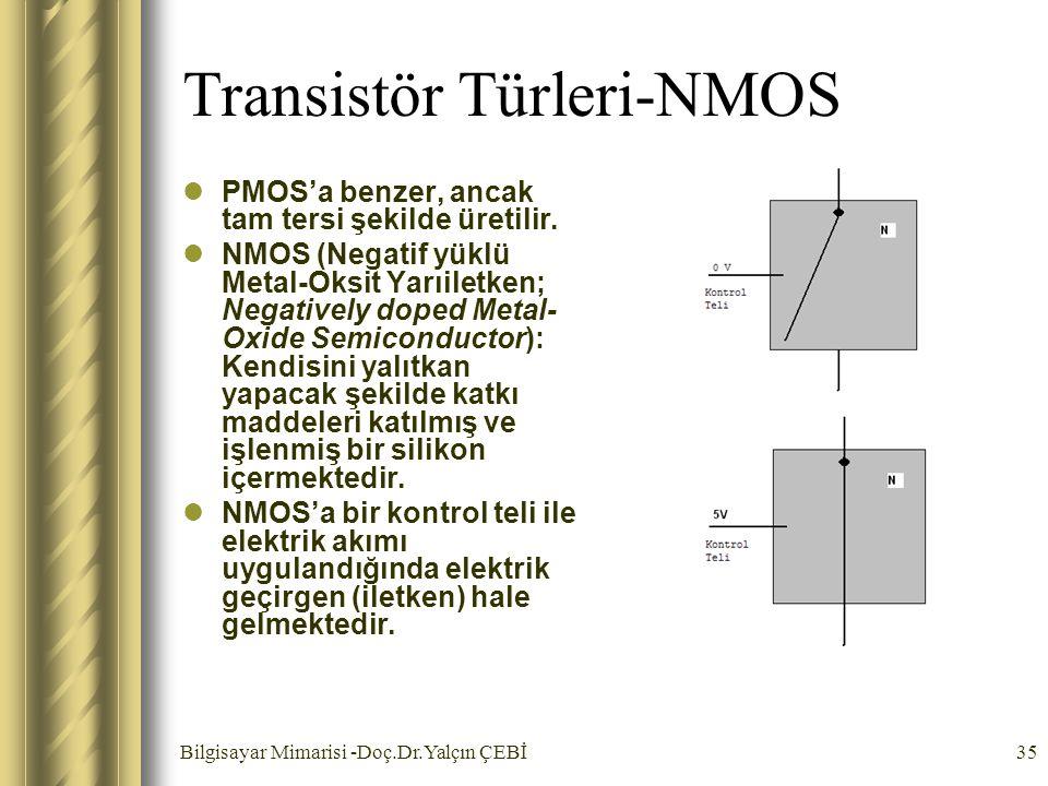 Bilgisayar Mimarisi -Doç.Dr.Yalçın ÇEBİ35 Transistör Türleri-NMOS PMOS'a benzer, ancak tam tersi şekilde üretilir. NMOS (Negatif yüklü Metal-Oksit Yar